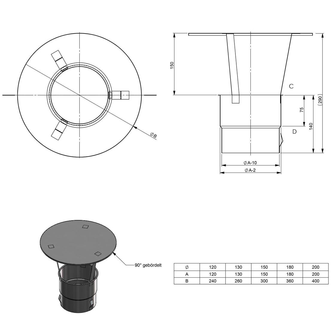 Kamin Regenhaube mit Einschub vier Federstahlkrallen am Stutzen Schornstein Innendurchmesser 300 mm