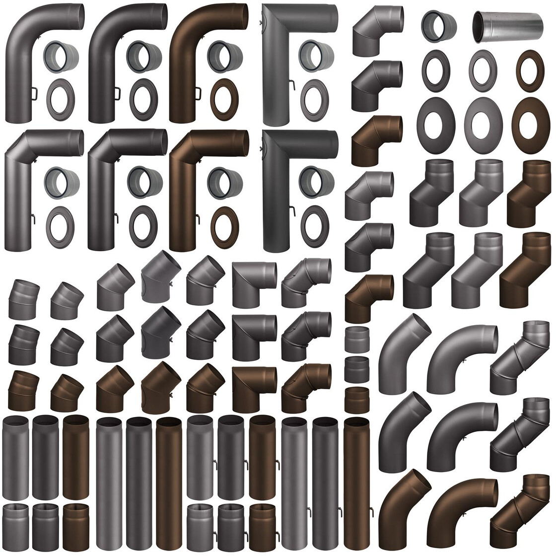 Ofenrohr Rauchrohr Bogen  0-90° verstellb 120 130 150 160 180 200mm grau schwar